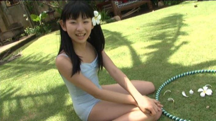 えりこすまいる「水沢えり子」水色レオタード座り髪に花