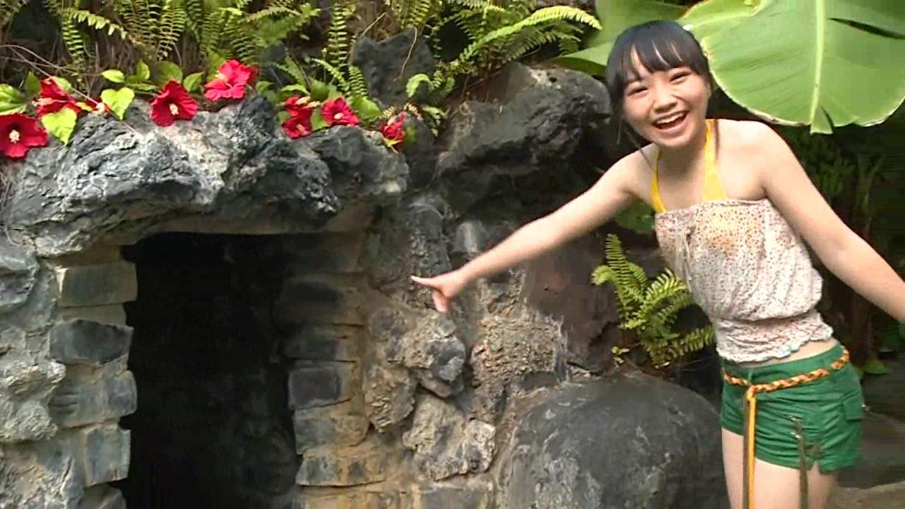 「はじめまして 学校なう! 見上瑠那」黄ビキニ洞穴