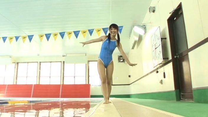 「夏のメッセージ 安西かな(麻生かな)」競泳水着全身立ち